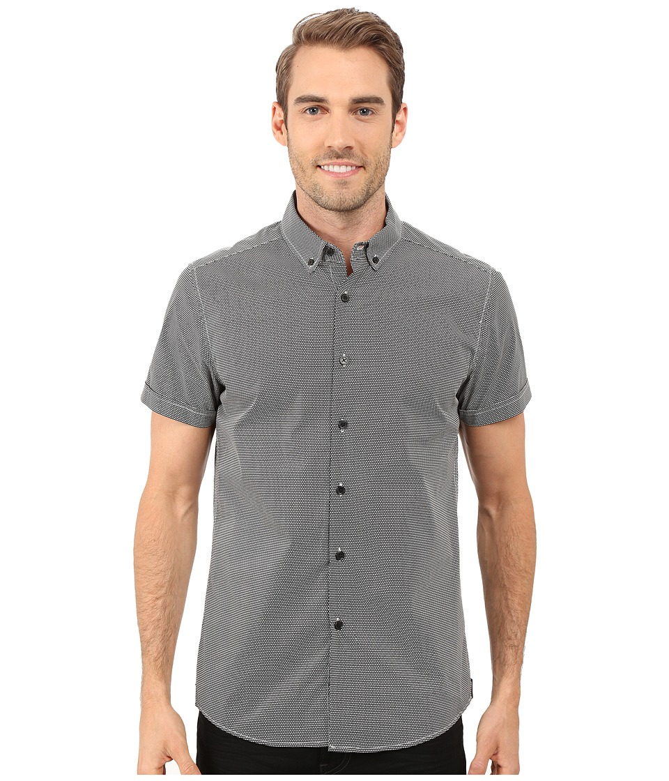 Kenneth Cole Sportswear Short Sleeve Button Down Collar Dot Print Black Combo Mens Short Sleeve Button Up