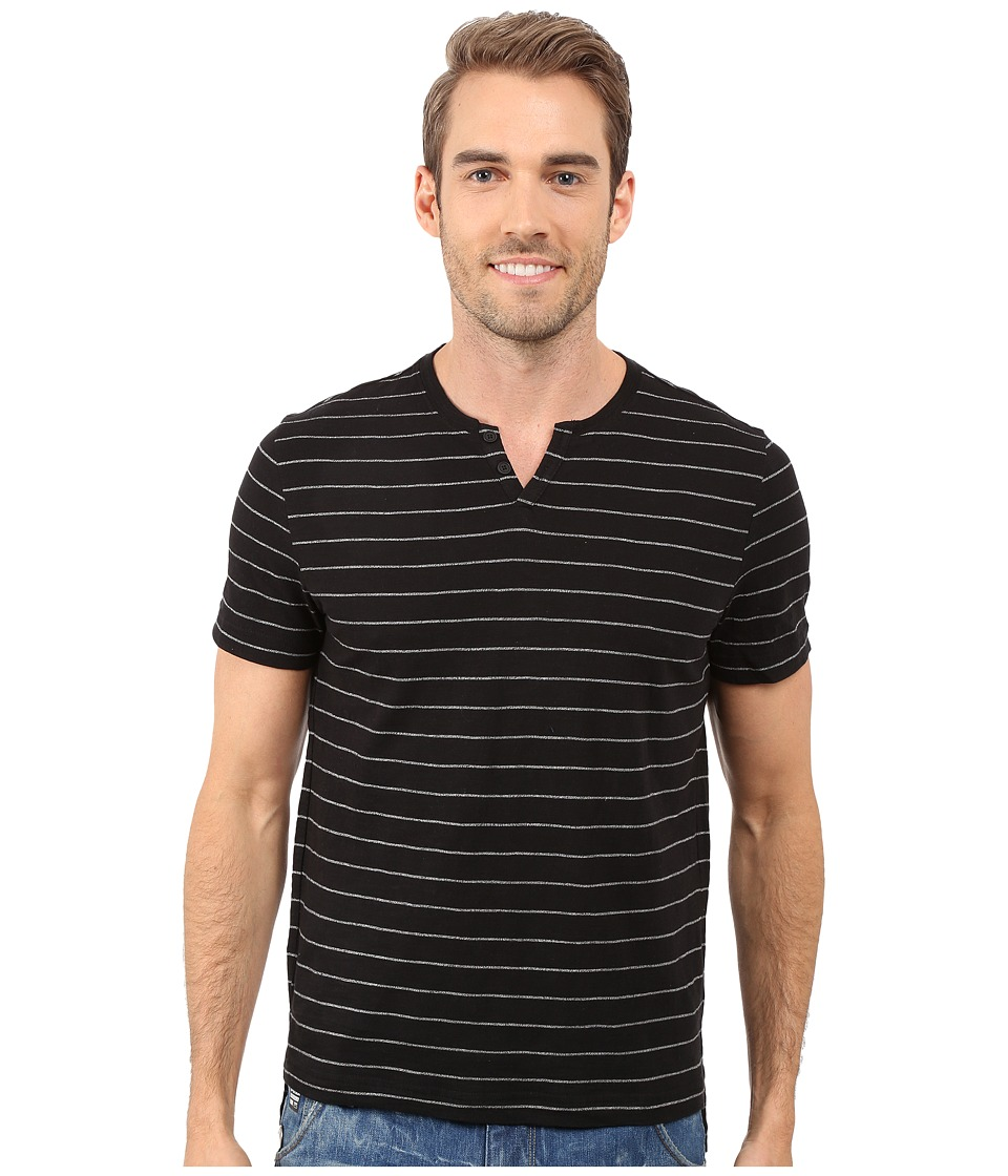 Kenneth Cole Sportswear Stripe Henley Black Mens Short Sleeve Pullover