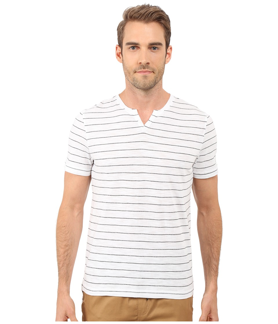 Kenneth Cole Sportswear Stripe Henley White Mens Short Sleeve Pullover