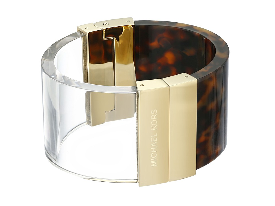 Michael Kors Color Block Statement Hinge Bracelet Gold/Tortoise/Lucite Bracelet