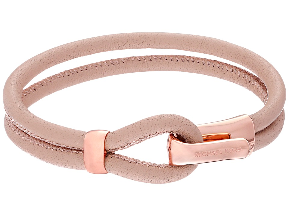 Michael Kors Leather Hook Eye Bracelet Rose Gold/Buff Bracelet