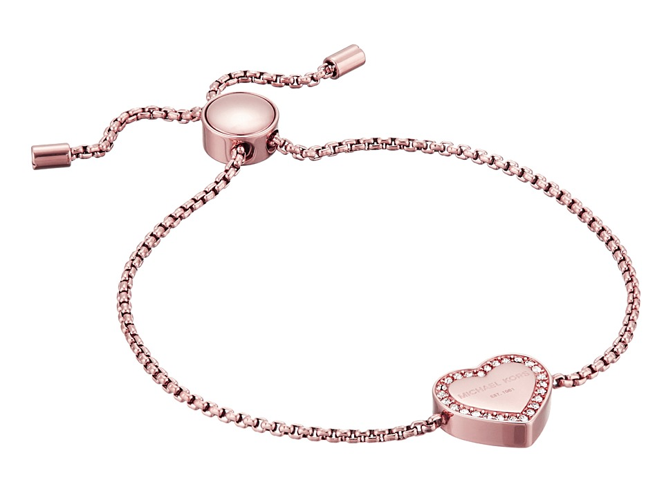 Michael Kors Heritage Heart Adjustable Bracelet Rose Gold/Clear Bracelet