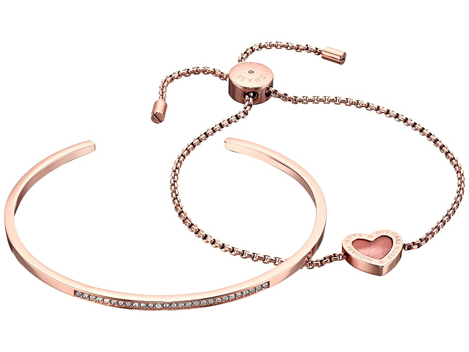 Michael Kors Bracelet Gift Set Rose Gold/Mother of Pearl/Clear Bracelet