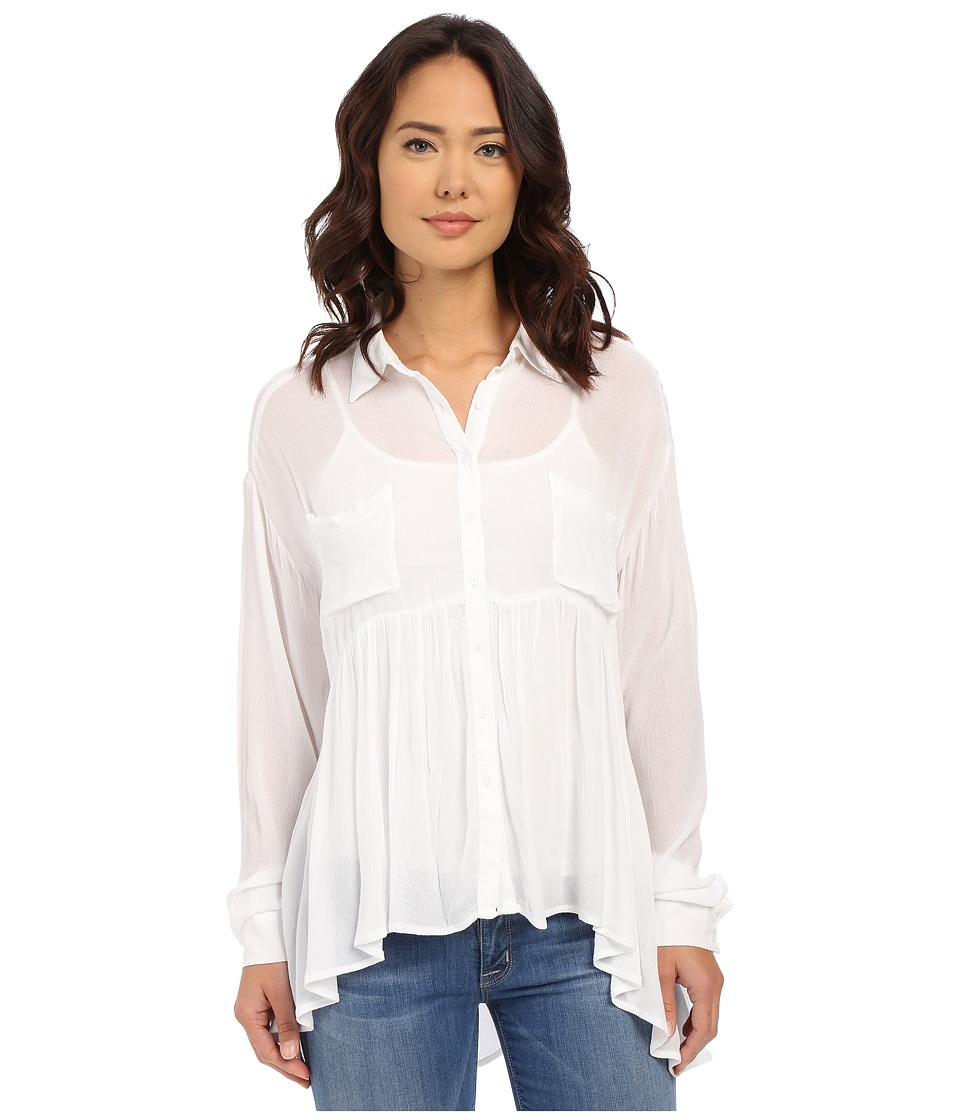 Brigitte Bailey Cesena Flouncy Button Up Top White Womens Clothing