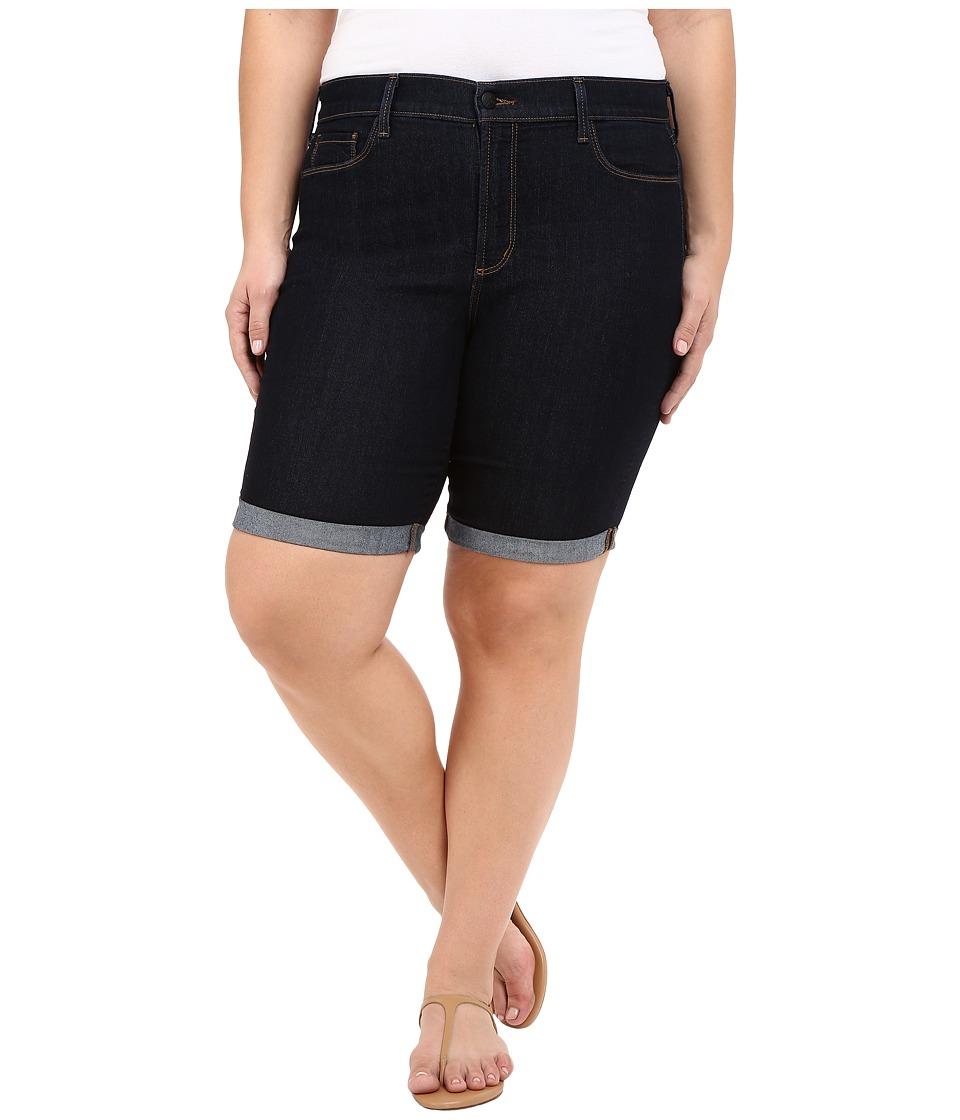 NYDJ Plus Size Plus Size Briella Roll Cuff Shorts Dark Enzyme Wash Womens Shorts