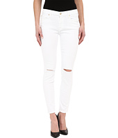 7 For All Mankind - The Ankle Skinny w/ Knee Holes in Clean White 2