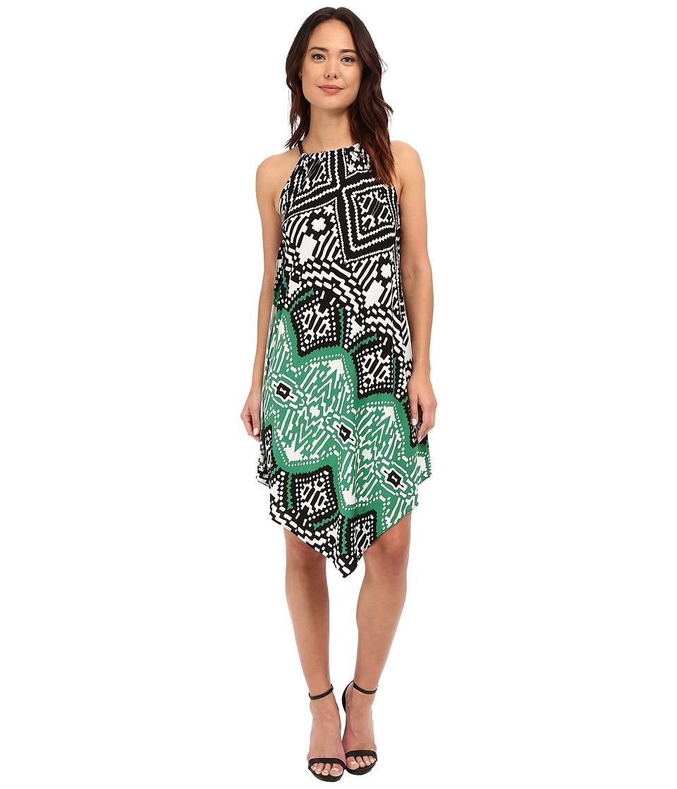 Christin Michaels Bari Printed Dress Black/Green Multi Womens Dress