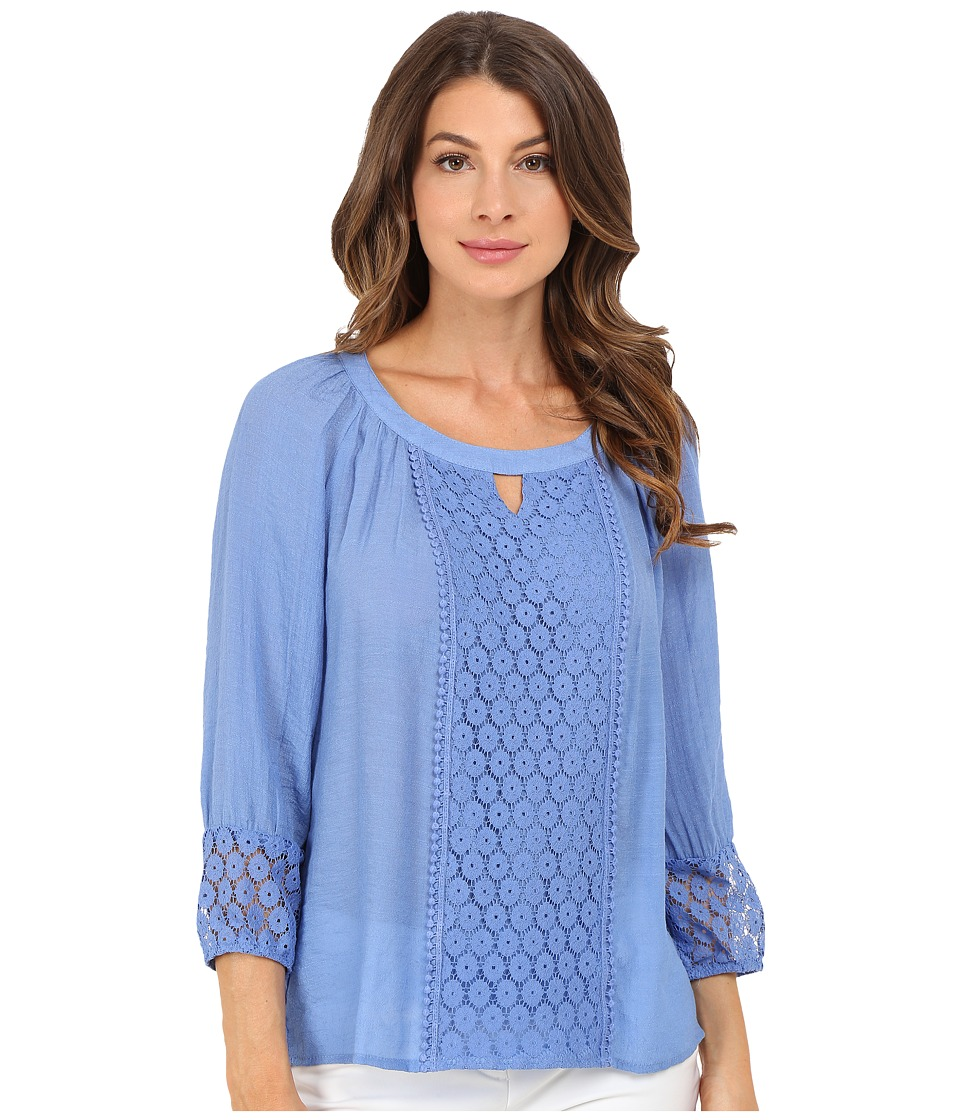 Christin Michaels Caen Lace Top Blue Womens Clothing