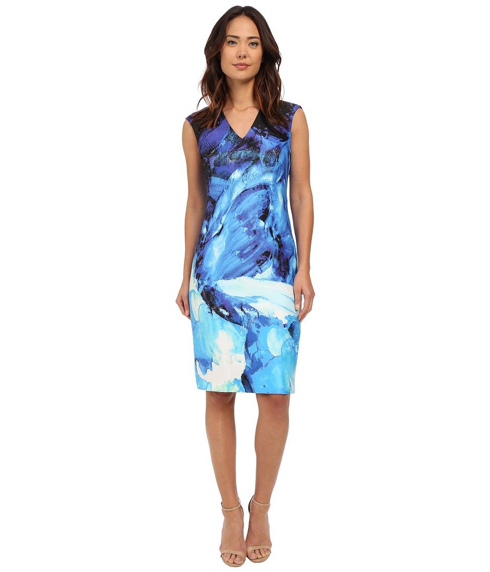 Christin Michaels Ancona Printed Scuba Dress Blue Womens Dress