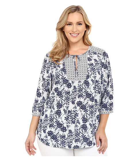 NYDJ Plus Size Plus Size Patch Work Mosaic Blouse