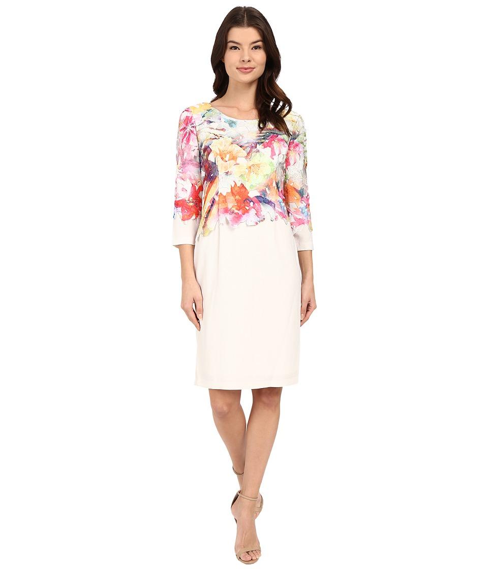 Christin Michaels Barletta Printed Lace Peach/Ivory Womens Clothing