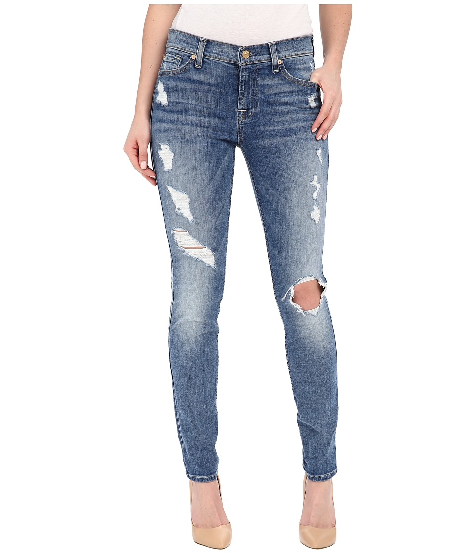 7 For All Mankind The Skinny w/ Contrast Squiggle Destroy in Stretch Blue Orchid 2 Stretch Blue Orchid 2 Womens Jeans