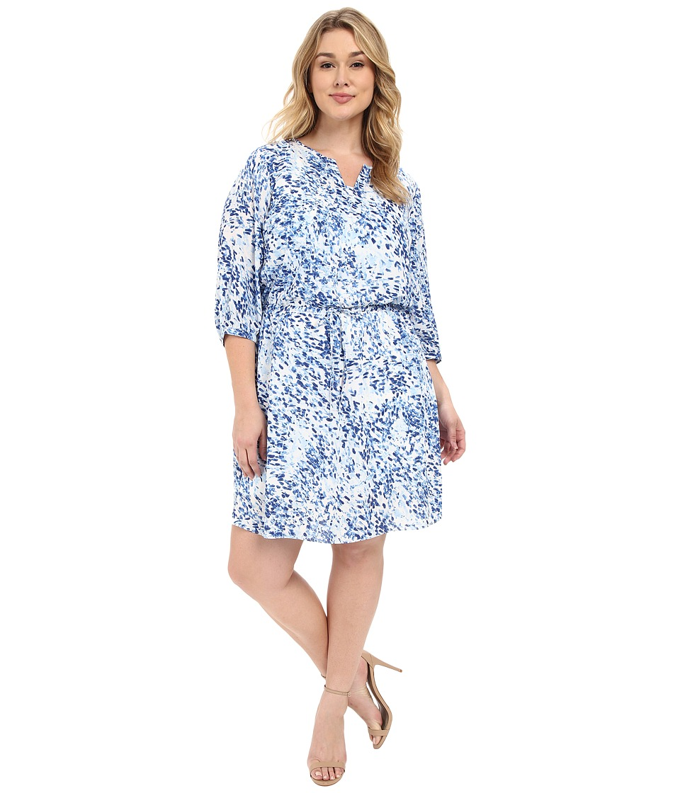 NYDJ Plus Size Plus Size Alexa Pleat Back Dress Sumi Splash Blue Wave Womens Dress