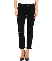 7 For All Mankind - Cropped High Waist Vintage Straight w/ Raw Hem & Knee Holes in Black/Holes