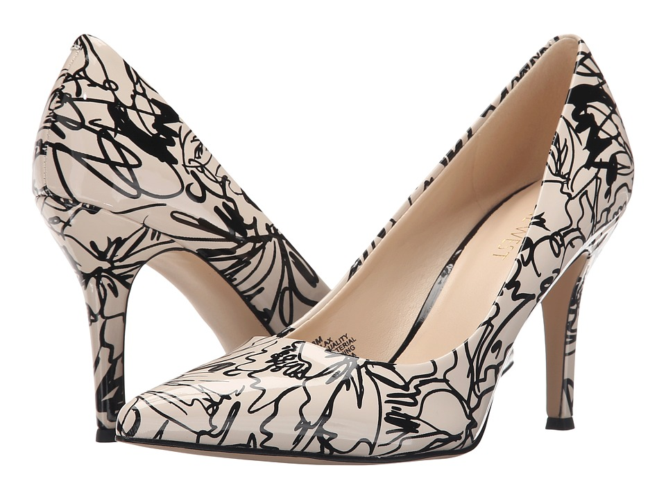 Nine West Flax Off White/Black Synthetic High Heels