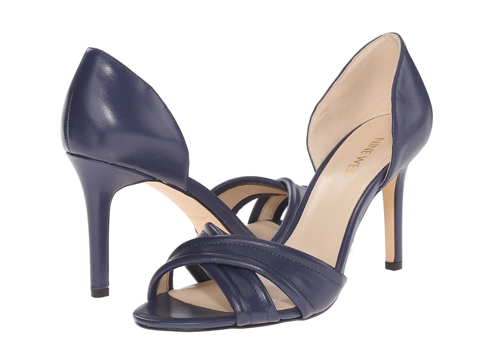 Nine West Fortunata Navy Leather Womens Shoes