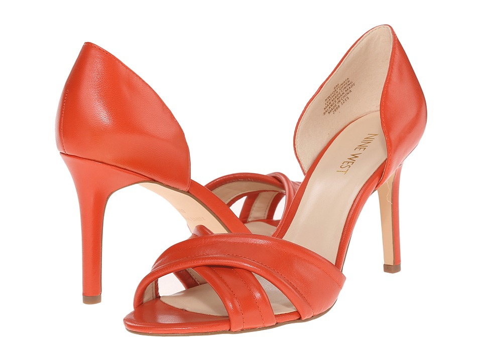 Nine West Fortunata Red Orange Leather Womens Shoes