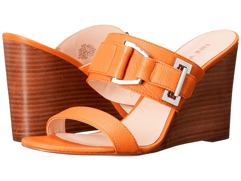 Nine West Funtimes Orange Leather Womens Shoes