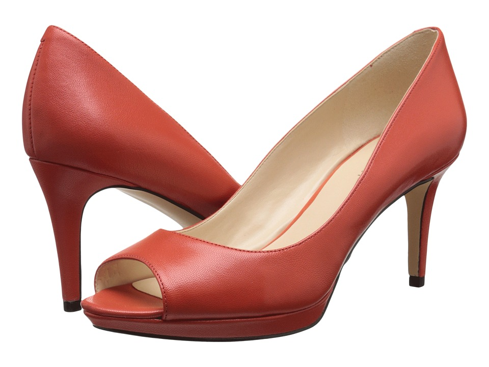 Nine West Gelabelle Red Orange Leather Womens Shoes