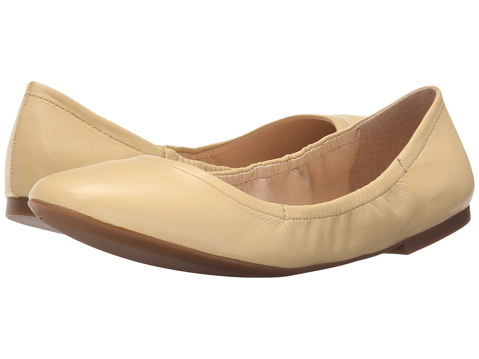 Nine West Girlsnite Light Yellow Leather Womens Flat Shoes