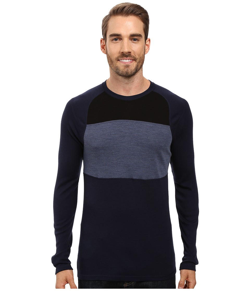 Smartwool NTS Mid 250 Color Block Crew Top (Deep Navy/Dark Blue Steel Heather) Men