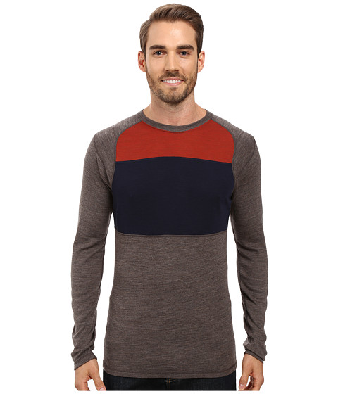 Smartwool NTS Mid 250 Color Block Crew Top - Taupe Heather