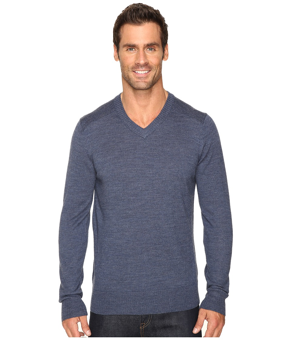 Smartwool Kiva Ridge V-Neck Sweater (Dark Blue Steel Heather) Men