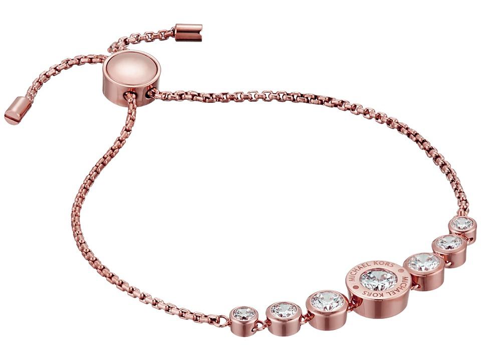 Michael Kors Cubic Zirconium Logo Adjustable Bracelet Rose Gold/Clear Bracelet