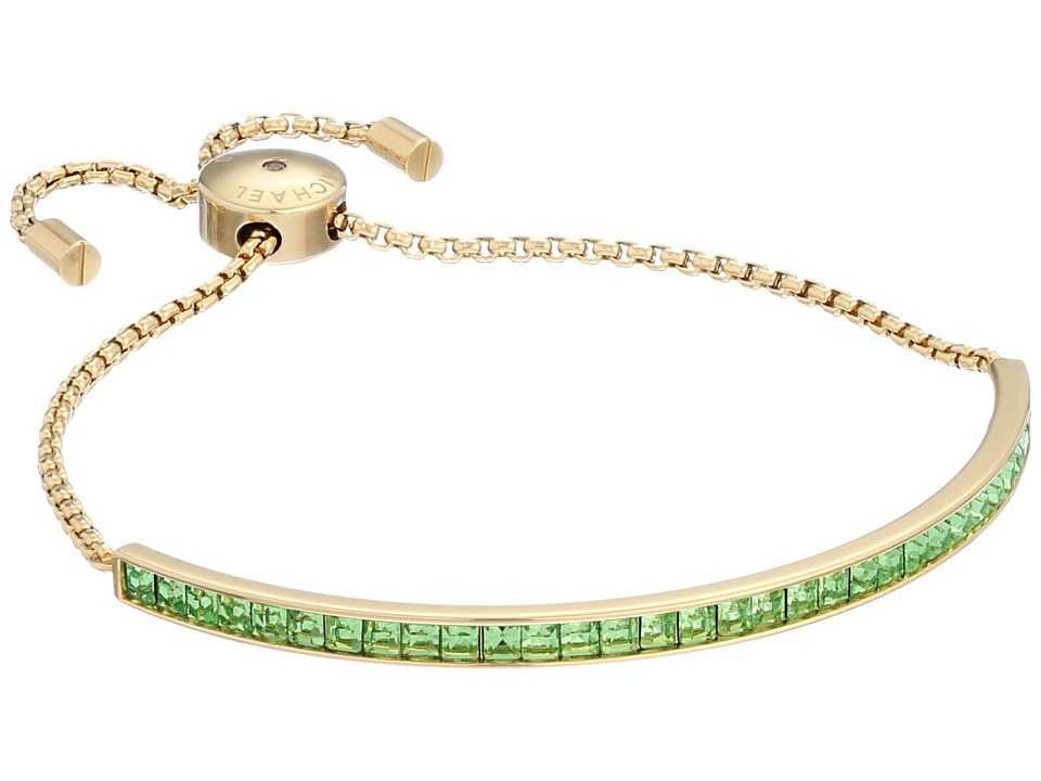 Michael Kors Adjustable Slider Bracelet Gold/Mint Cubic Zirconium Bracelet