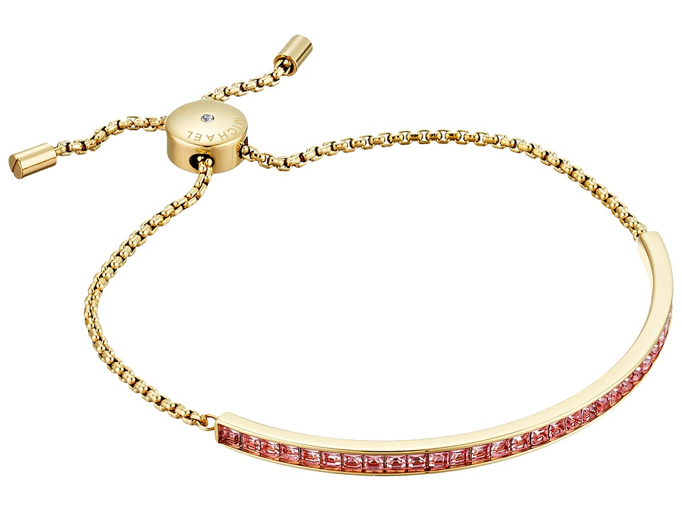 Michael Kors Adjustable Slider Bracelet Gold/Pink Cubic Zirconium Bracelet