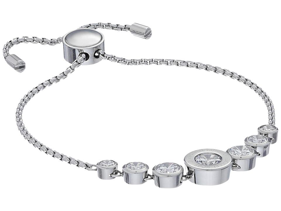 Michael Kors Cubic Zirconium Logo Adjustable Bracelet Silver/Clear Bracelet
