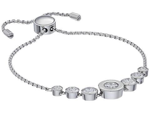 Michael Kors Cubic Zirconium Logo Adjustable Bracelet - Silver/Clear