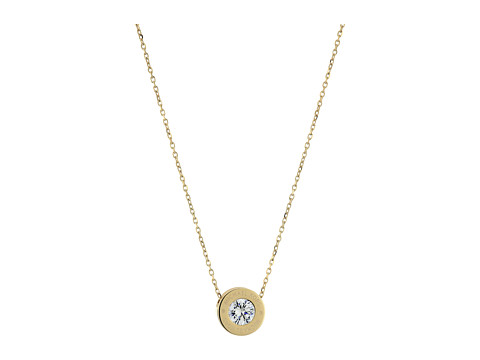 Michael Kors Cubic Zirconium Logo Necklace - Gold/Clear