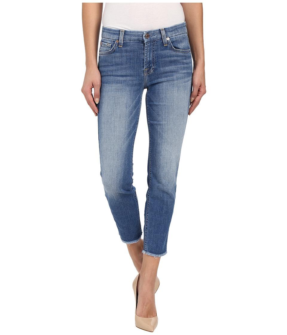 7 For All Mankind Kimmie Crop w/ Raw Hem in Vivid Authentic Blue Vivid Authentic Blue Womens Jeans