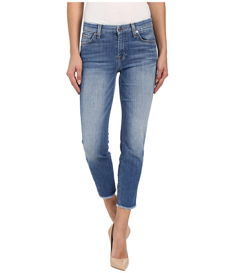 7 For All Mankind Kimmie Crop w/ Raw Hem in Vivid Authentic Blue ...