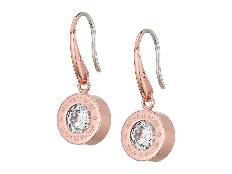 Michael Kors Cubic Zirconium Logo Drop Earrings (Rose Gol...