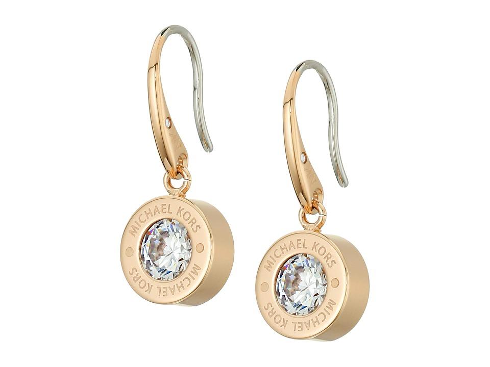 Michael Kors Cubic Zirconium Logo Drop Earrings (Gold/Cle...