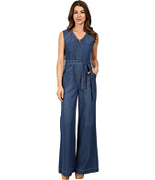 7 For All Mankind - Wide Leg Denim Jumpsuit w/ Topstitching in Crescent Blue