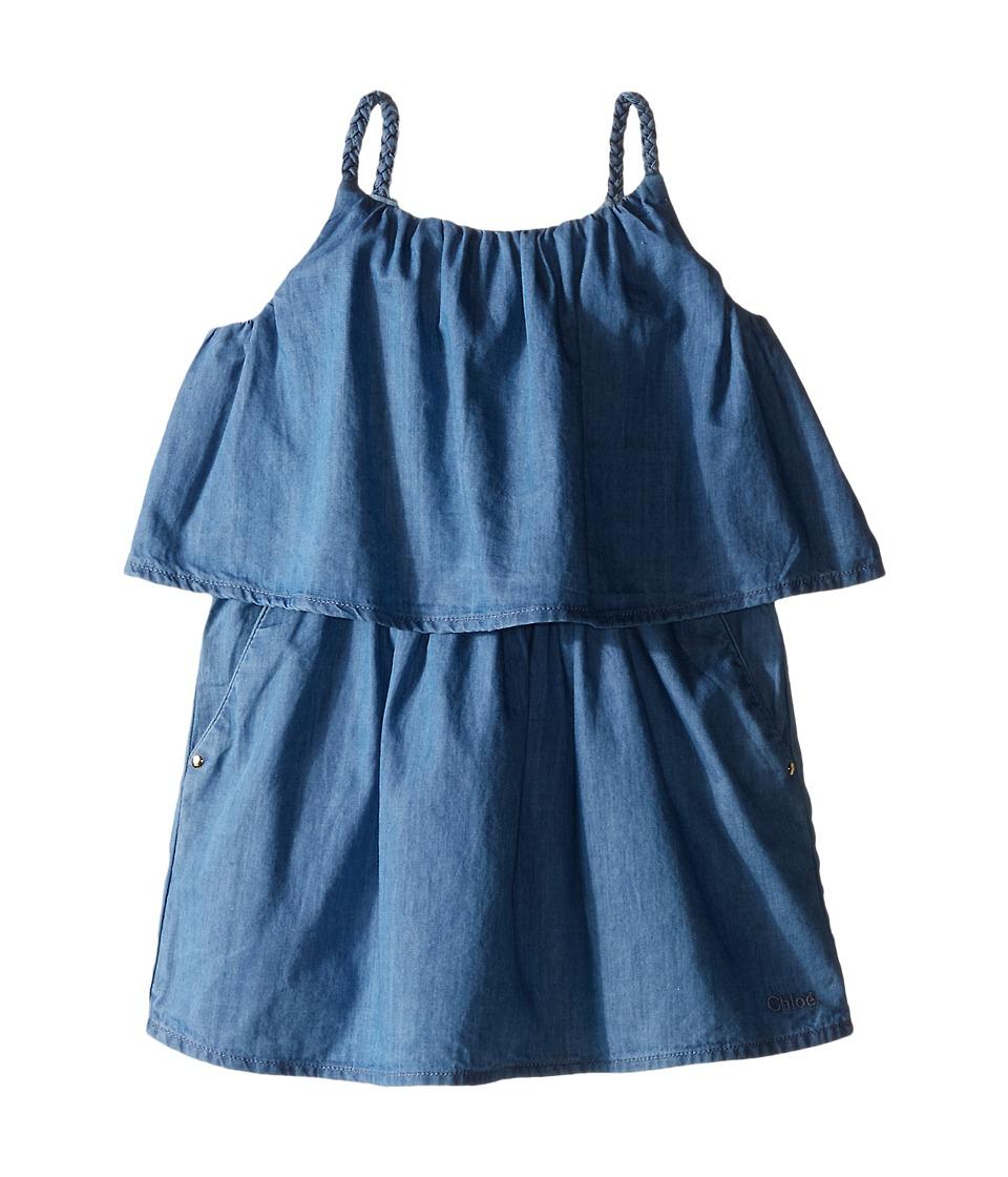 Chloe Kids Light Denim Style Dress with Braided Straps Toddler/Little Kids Blue Denim Girls Dress