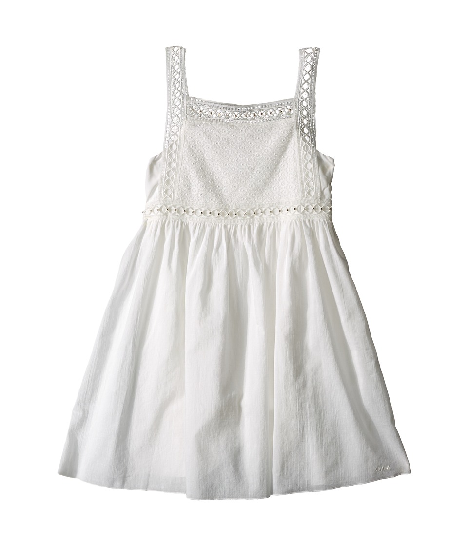 Chloe Kids Cotton Crepe Couture Dress Embroidery Under Cover Little Kids/Big Kids Off White Girls Dress