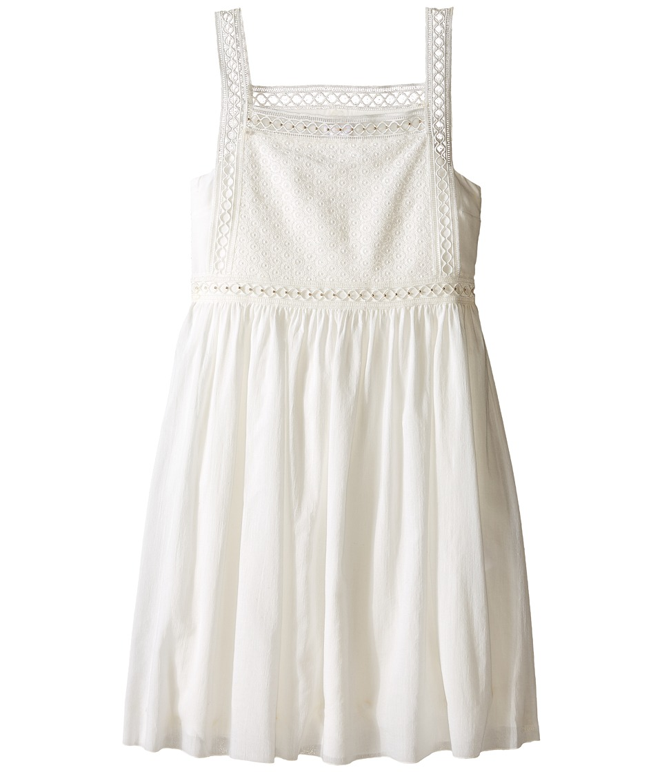 Chloe Kids Cotton Crepe Couture Dress Embroidery Under Cover Big Kids Off White Girls Dress