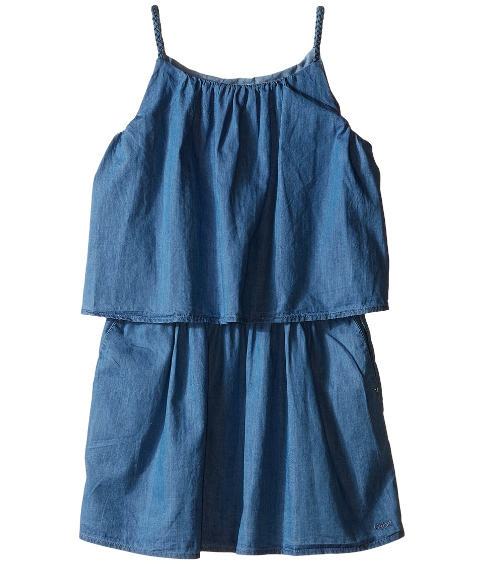 Chloe Kids Light Denim Style Dress with Braided Straps Little Kids/Big Kids Blue Denim Girls Dress