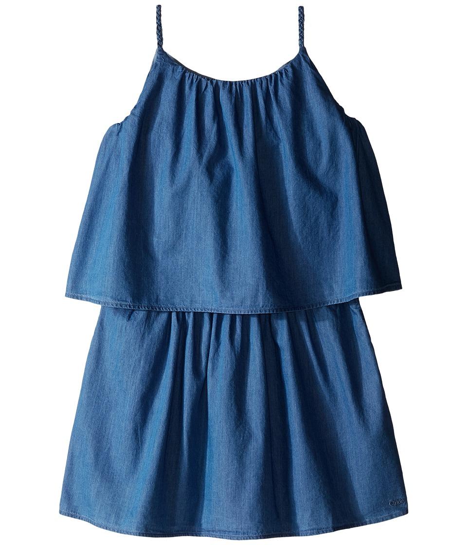 Chloe Kids Light Denim Style Dress with Braided Straps Big Kids Blue Denim Girls Dress