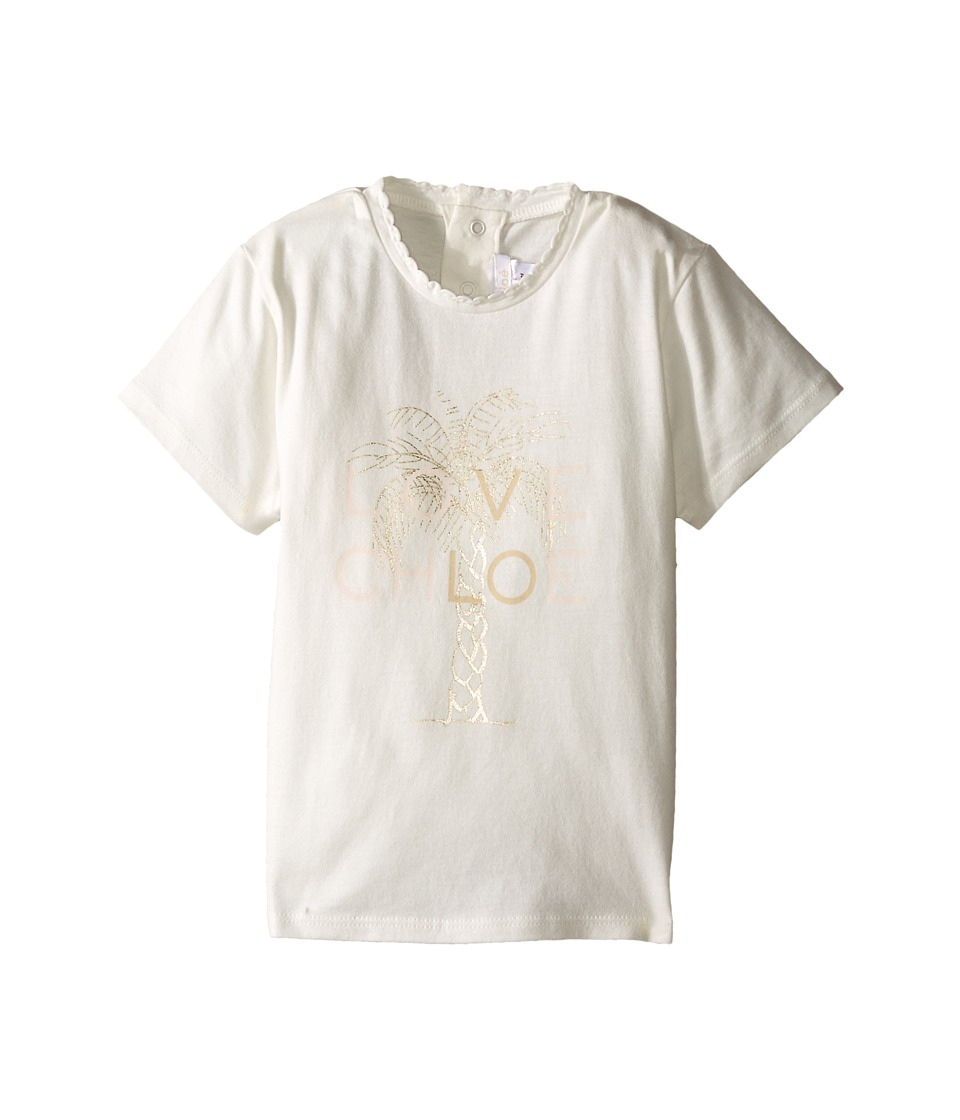 Chloe Kids Cotton Tee Shirt with Gold Graphic Infant Off White Girls T Shirt