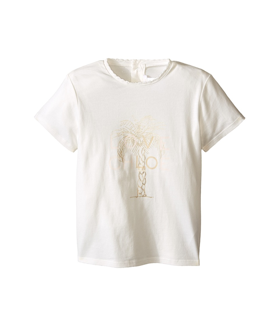 Chloe Kids Cotton Tee Shirt with Gold Graphic Toddler Off White Girls T Shirt