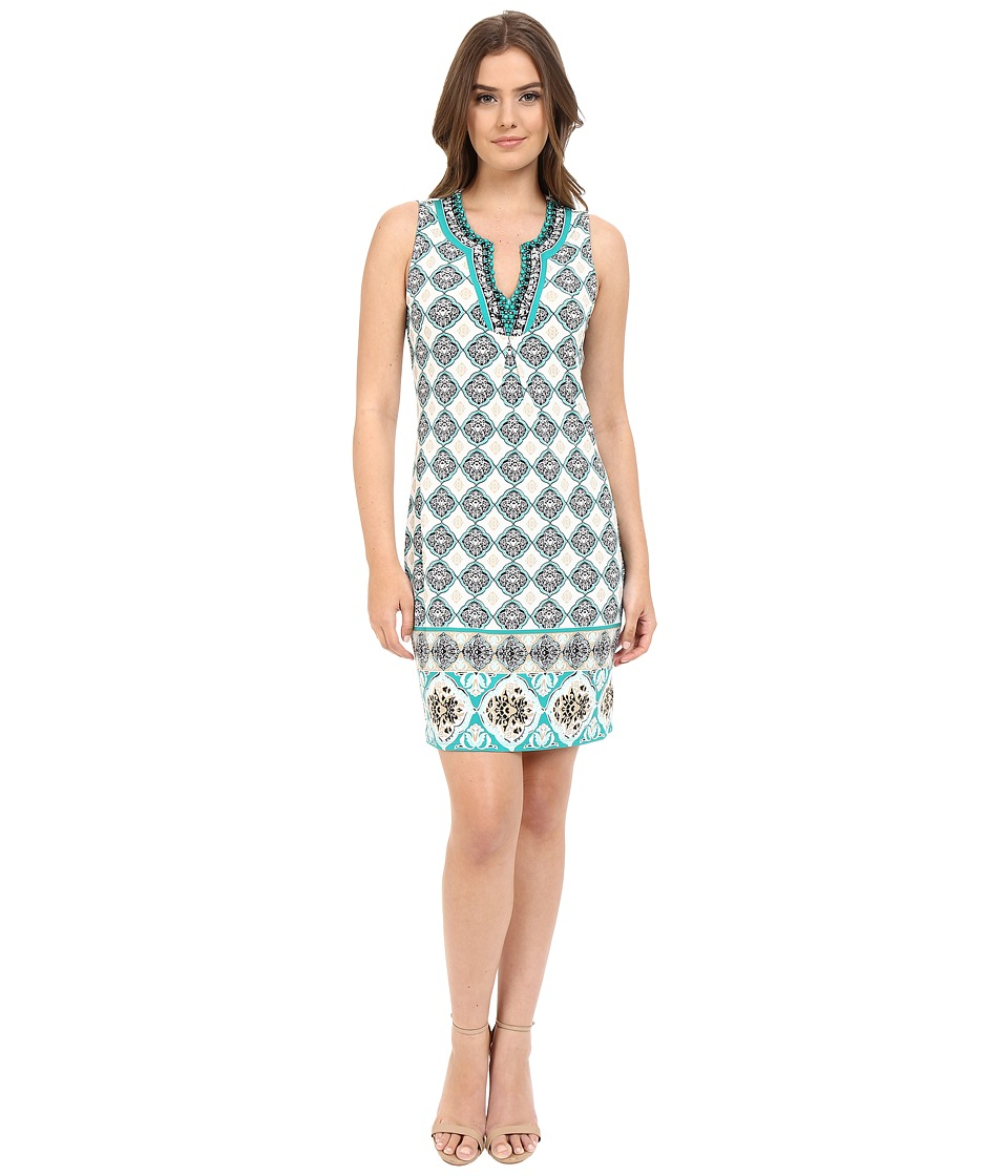 Hale Bob Folk Tales Sleeveless Dress with Beading Teal Womens Dress