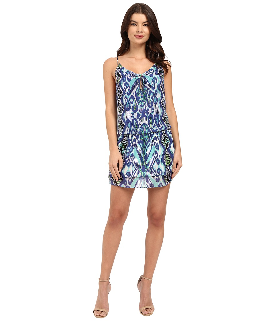 Hale Bob Devils Advocate Halter Style Silk Dress Navy Womens Dress