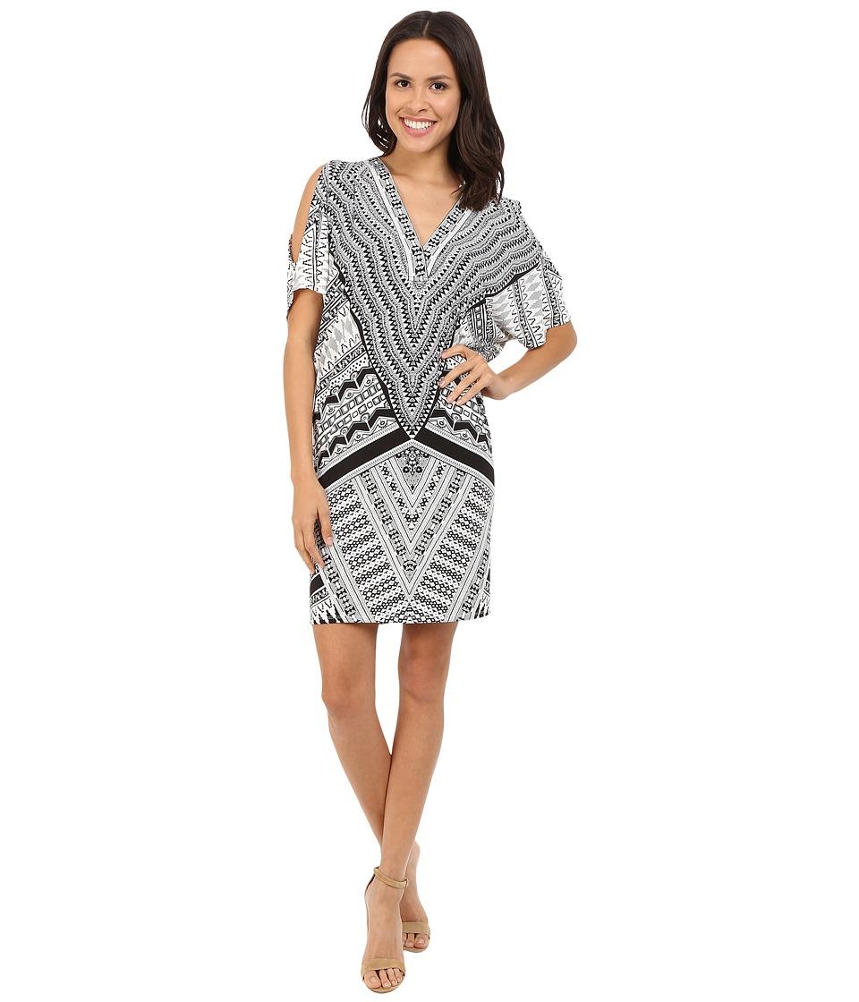 Hale Bob Bold Geometry Cold Shoulder Dress Black/White Womens Dress