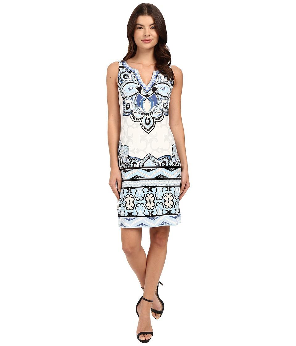 Hale Bob Color Code Sleeveless Dress Denim Womens Dress