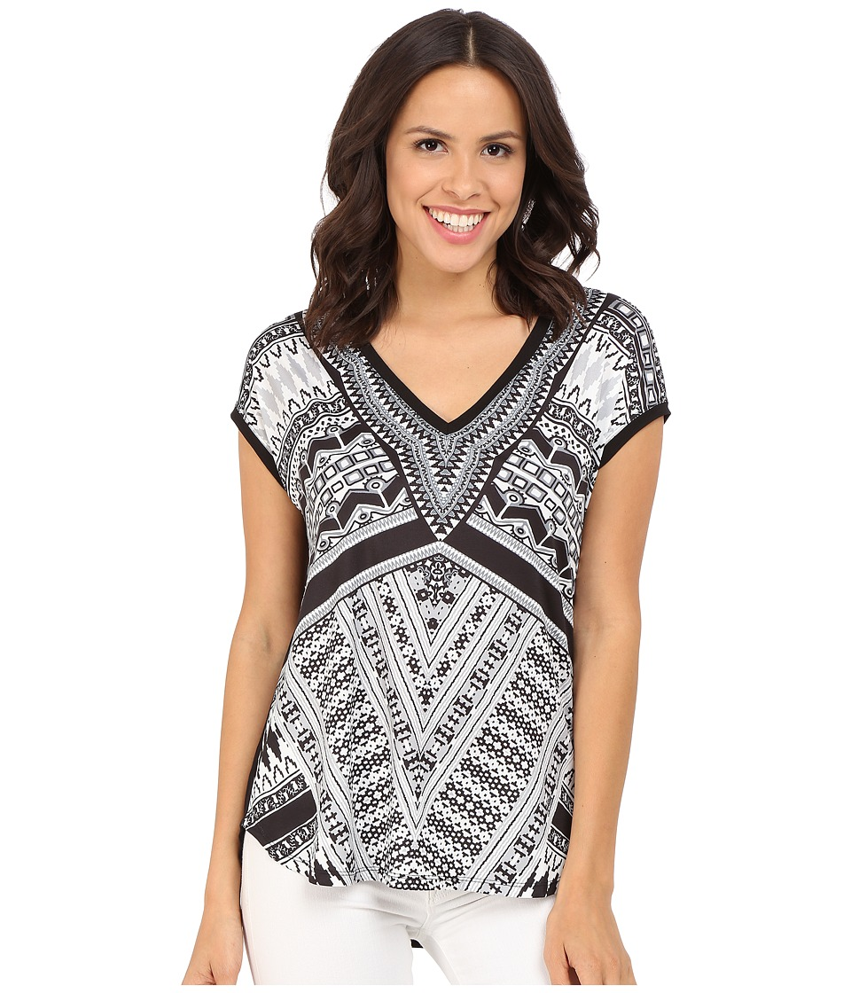 Hale Bob Bold Geometry Mixed Media Top Black/White Womens Clothing